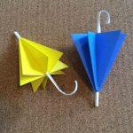 折り紙の傘の折り方!梅雨の室内遊びで作ってみよう♪
